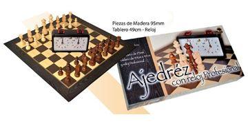 """Imagen de Ajedrez 49x49 Fichas Madera 4"""" C/Reloj"""